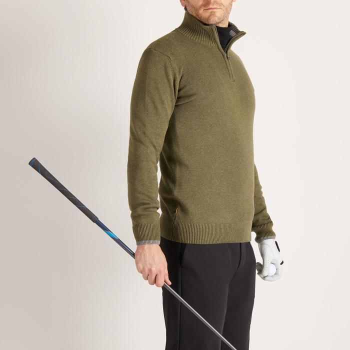 男款高爾夫立領針織衫-卡其色