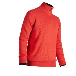 男款高爾夫立領針織衫-珊瑚色