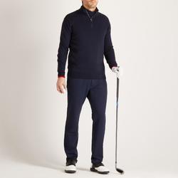 男款寒冷天候高爾夫立領針織衫-軍藍色