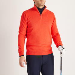 MEN'S RED COLD-WEATHER GOLFING PULLOVER