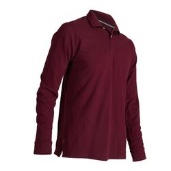 男款溫和天氣長袖高爾夫POLO衫-酒紅色
