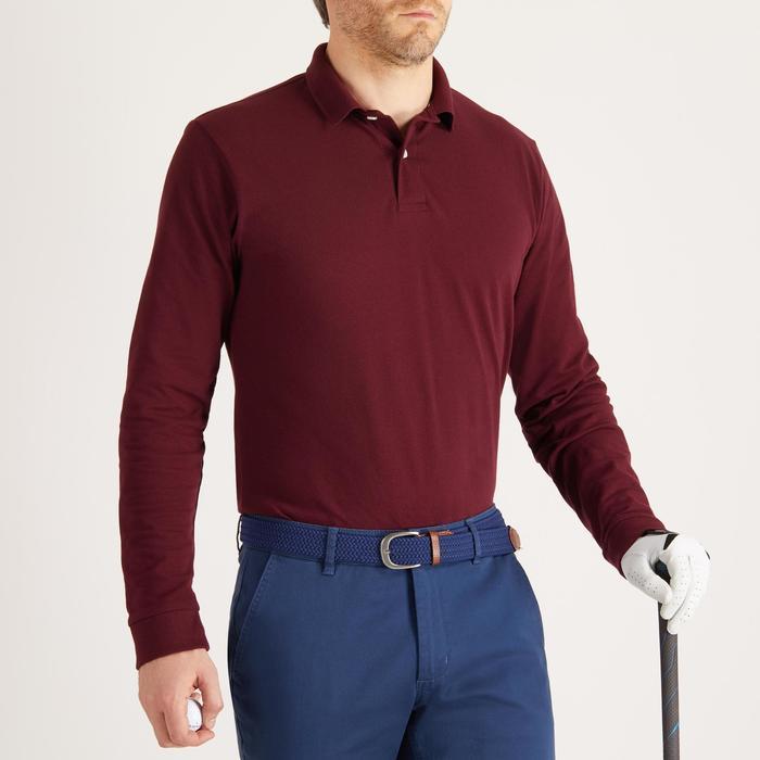 Golfpolo met lange mouwen voor heren zacht weer bordeaux
