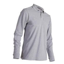 男款高爾夫長袖Polo衫-刷色灰