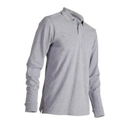 Men's Mild Weather Long Sleeve Golf Polo Shirt - Heather Grey