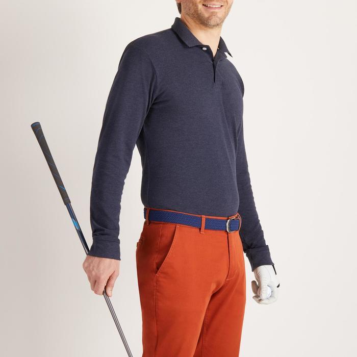 Golfpolo met lange mouwen voor heren zacht weer jeansblauw