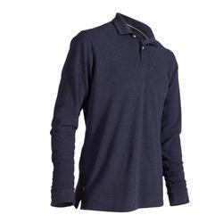 500 Men's Golf Long Sleeve Polo - Blue Denim