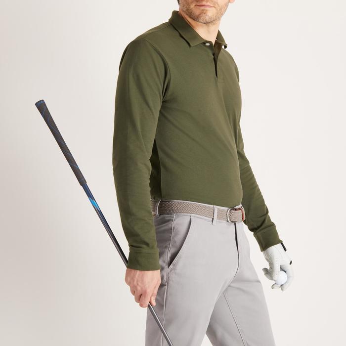Golfpolo met lange mouwen voor heren zacht weer kaki