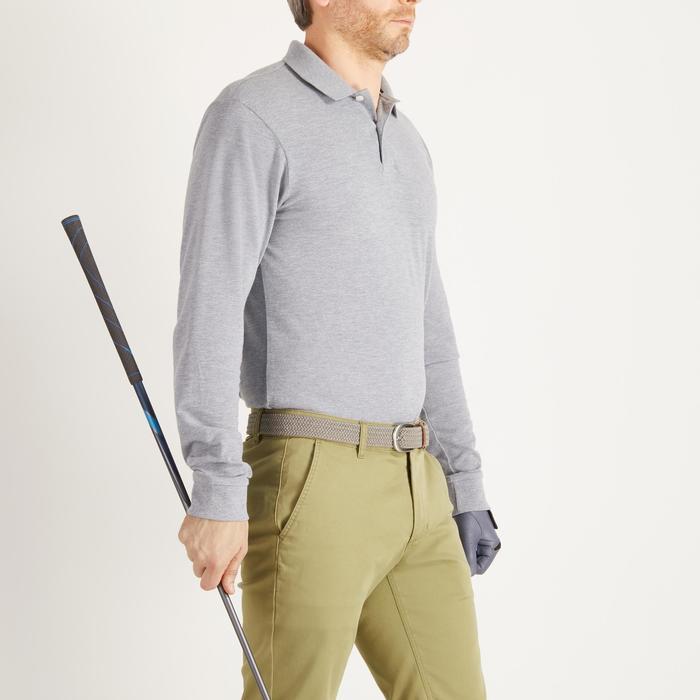 Golfpolo met lange mouwen voor heren zacht weer gemêleerd grijs