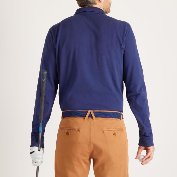 Golfpolo met lange mouwen voor heren zacht weer blauw