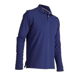 男士高爾夫長袖丹寧Polo衫 -藍色牛仔布