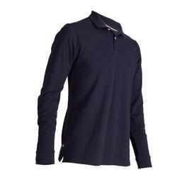 Golfpolo 500 met lange mouwen voor heren marineblauw