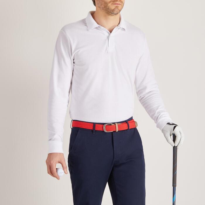 Golf Poloshirt Langarm Herren weiß