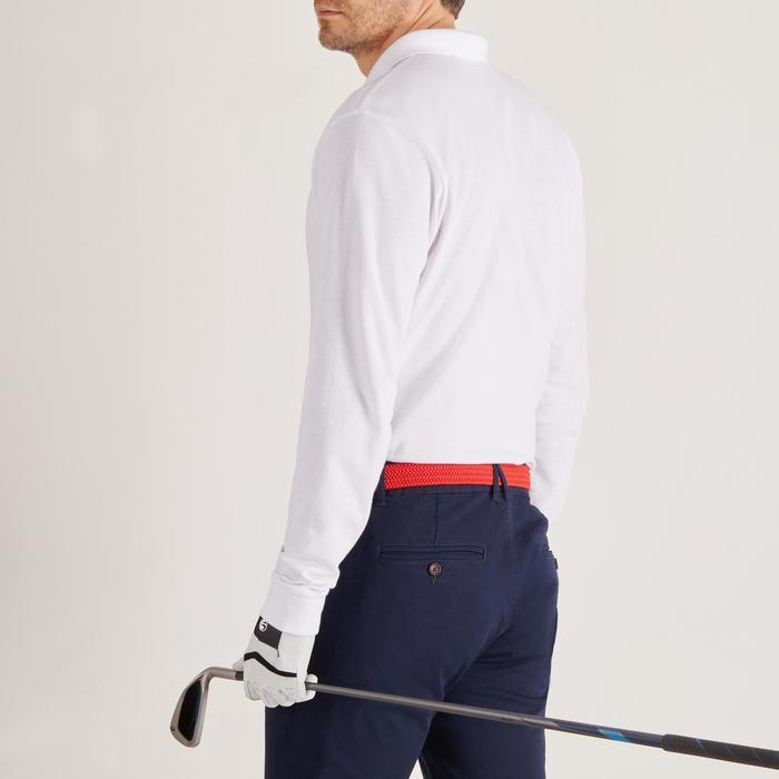 Golfpolo met lange mouwen voor heren zacht weer wit