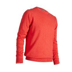 男款高爾夫圓領針織衫-珊瑚紅