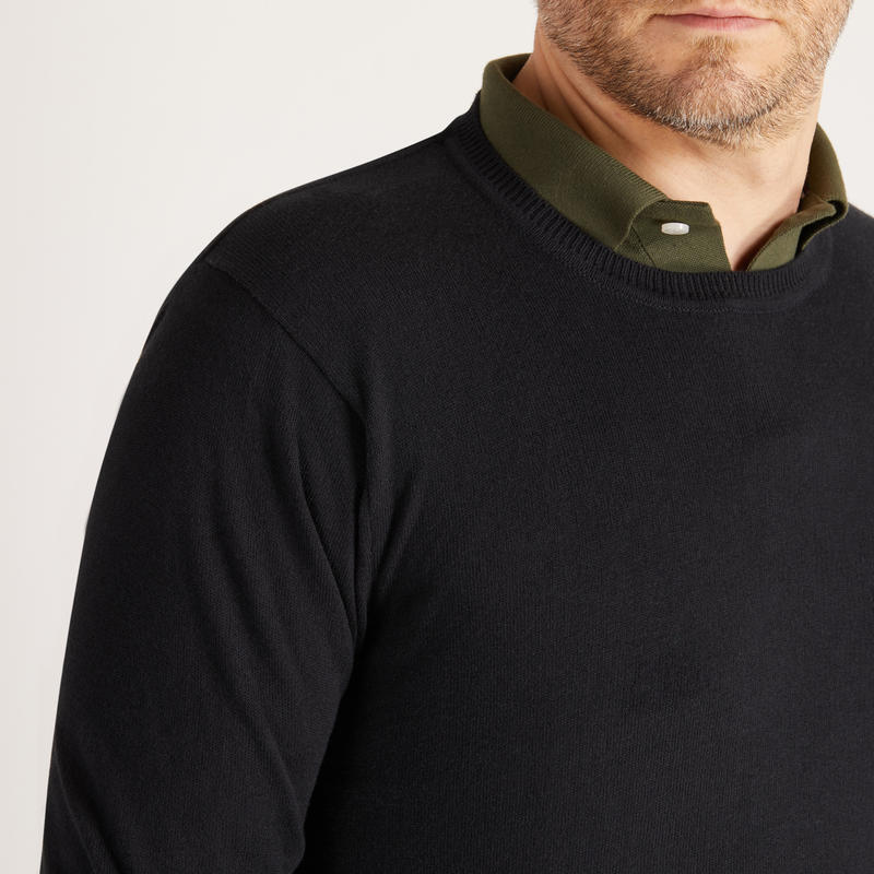 Men's Golf Mild Weather Crew Neck Sweater Black