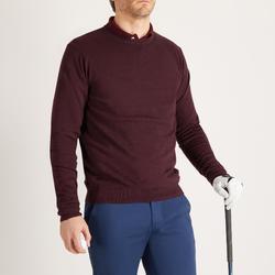 男款溫和氣候圓領高爾夫球針織衫-酒紅色