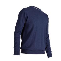 Golf Pullover Rundhals Herren blau meliert