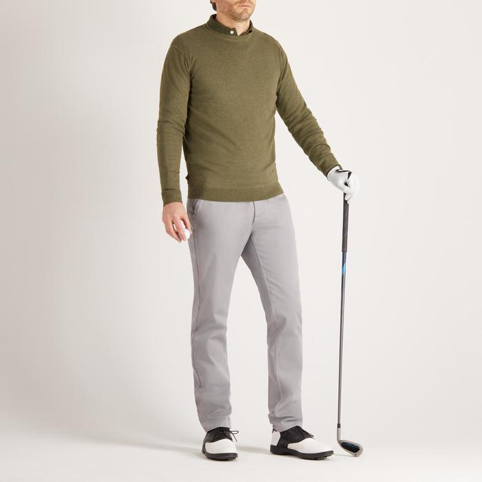 Golftrui voor heren ronde hals zacht weer kaki