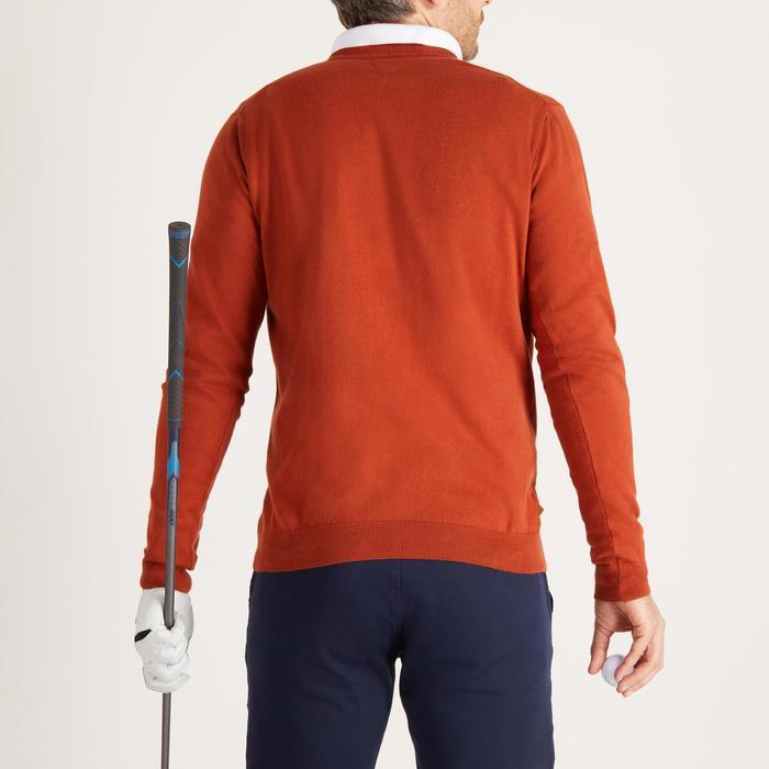 Golftrui met ronde hals voor heren zacht weer roestbruin