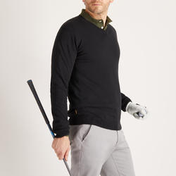 Men's Mild Weather V-Neck Golf Pullover - Black