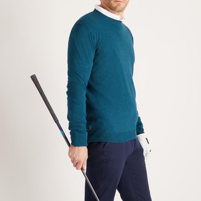 男款溫和氣候圓領高爾夫球針織衫-深綠色