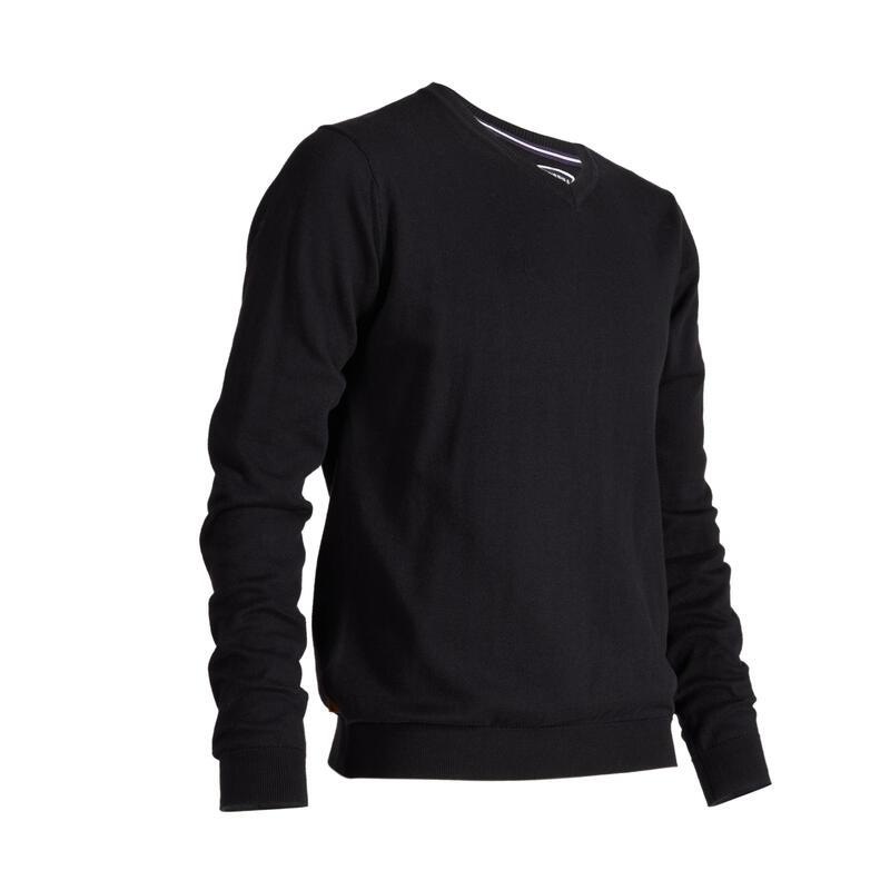 Pánský svetr s výstřihem do V na golf do mírného počasí černý