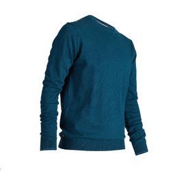 男款高爾夫圓領針織衫-深綠藍