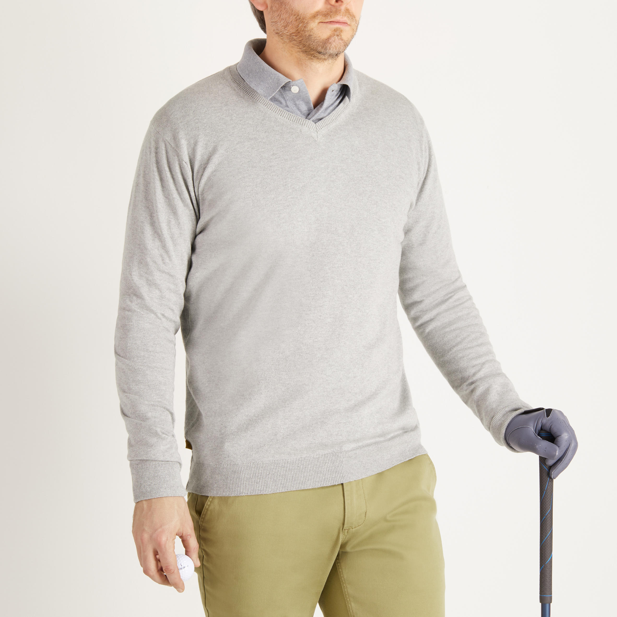 PULL GOLF COL V GRIS CHINE TEMPS TEMPERE POUR HOMME