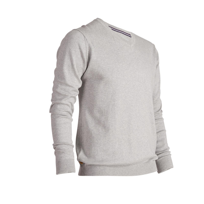 Men's Mild Weather Golf V-Neck Pullover - Heather Grey