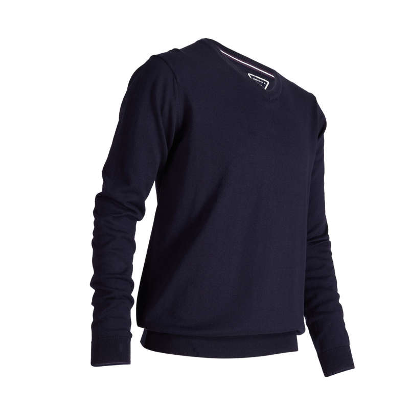 MENS MILD WEATHER GOLF CLOTHING Golf - 500 V NECK GOLF SWEATER - BLUE INESIS - Golf Clothing