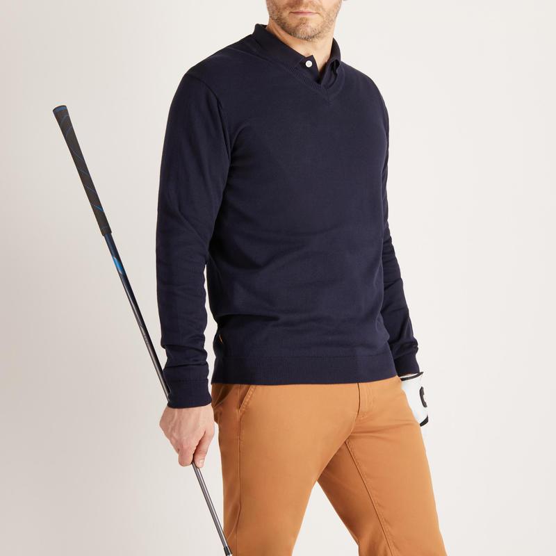 Men's Mild Weather V-Neck Golf Pullover - Navy