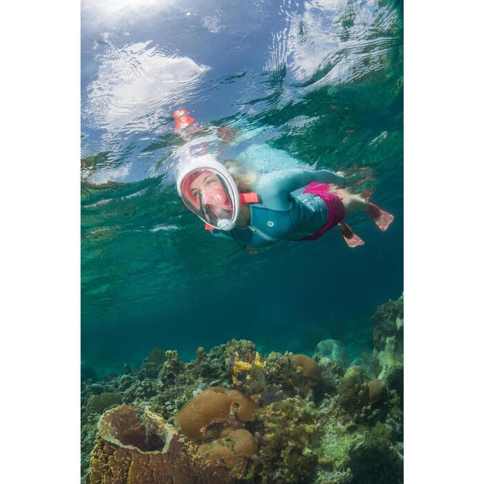 Kit de snorkel máscara Easybreath aletas coral rosa