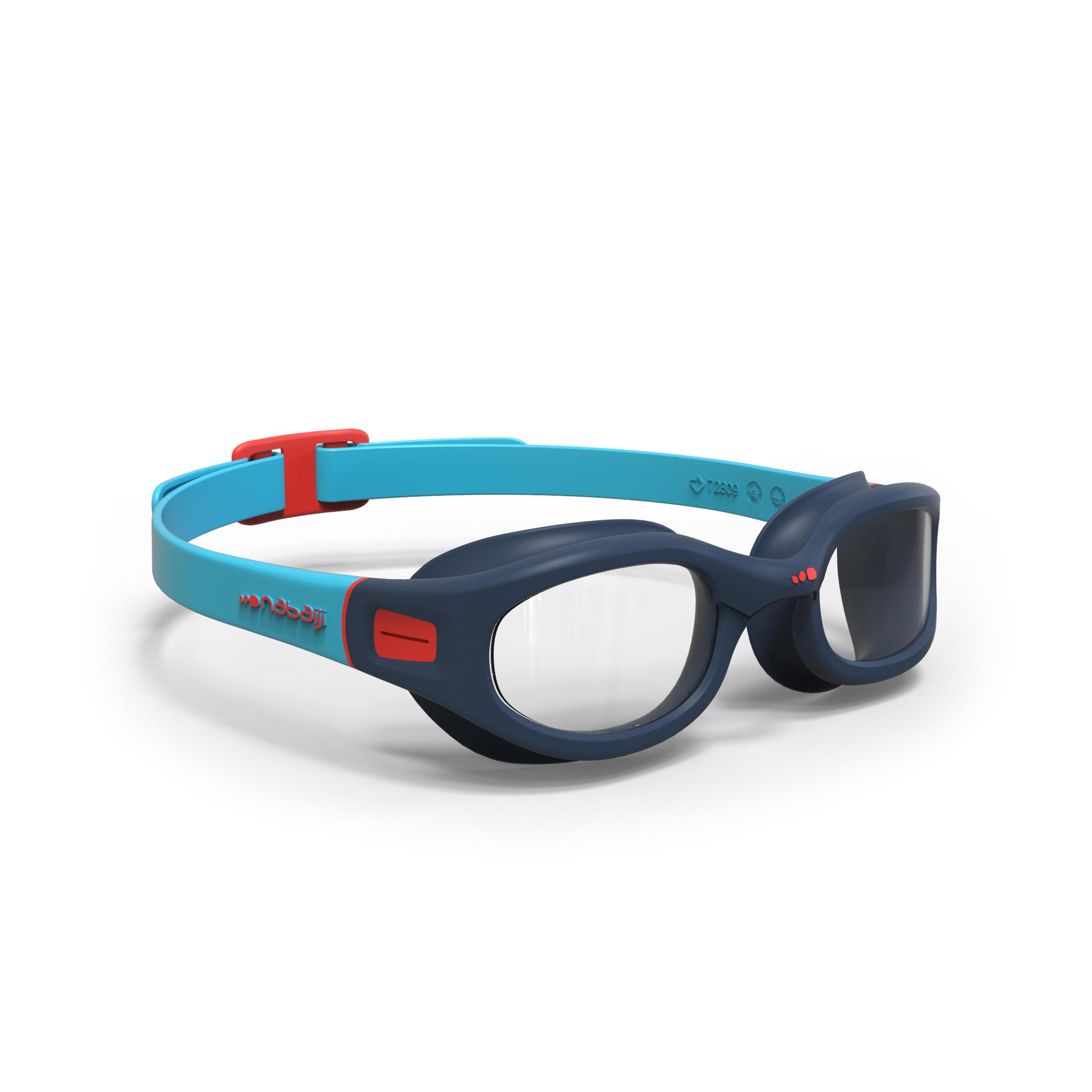 Lunettes de natation taille P Souples 190 bleues Rouges
