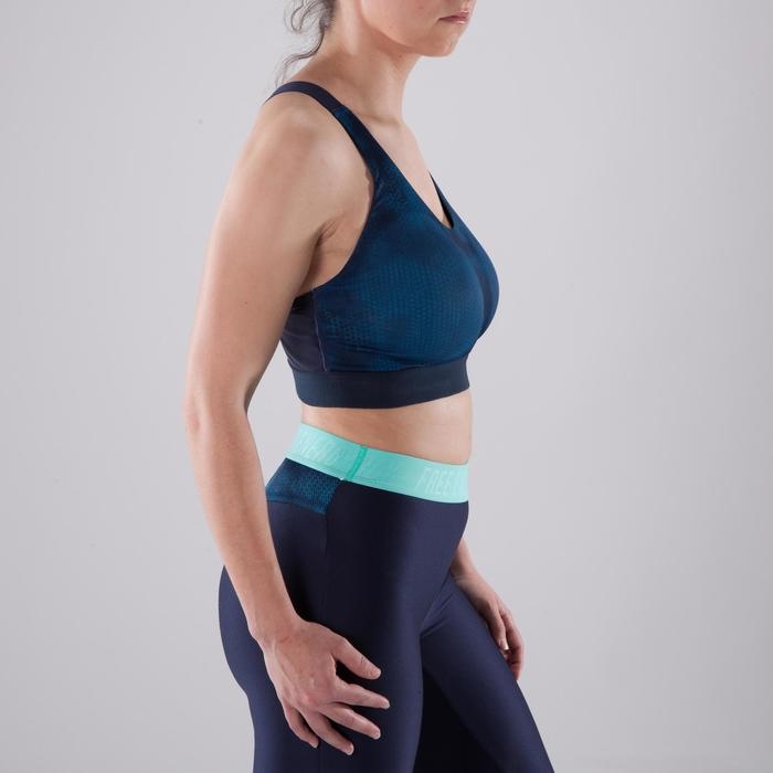 Sujetador-top copas profundas fitness cardio-training mujer estampado azul 500
