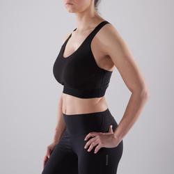 Sport-Bustier 500 große Körbchen Fitness Cardio Damen schwarz