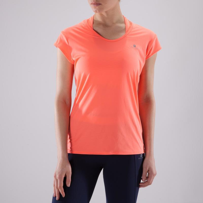 Camiseta cardio fitness mujer coral 100  c8d6ddbb19d0