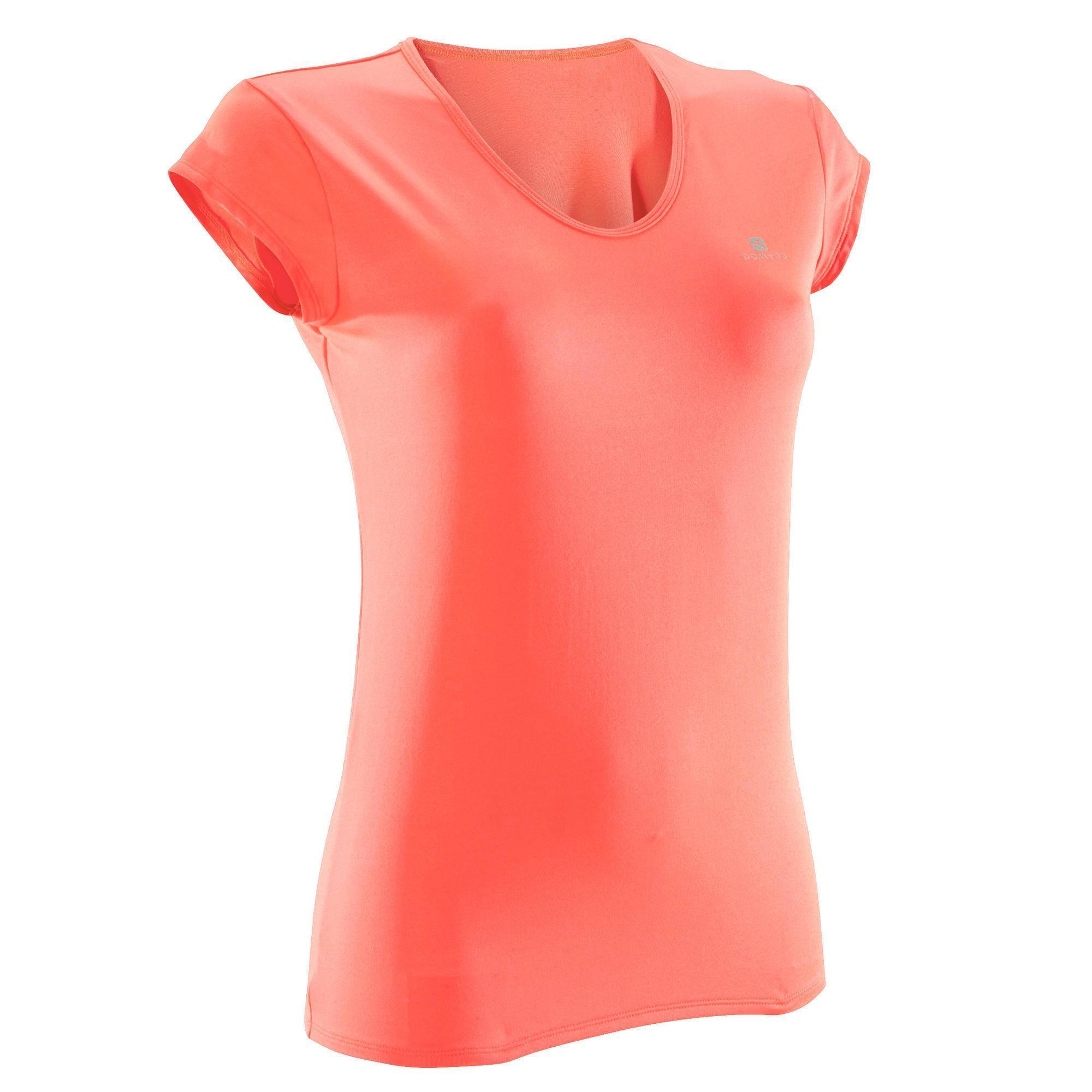 Domyos Dames T-shirt voor fitness en cardiotraining koraal 100