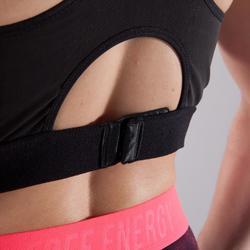 Sujetador-top copas profundas fitness cardio-training mujer negro y rosa 500