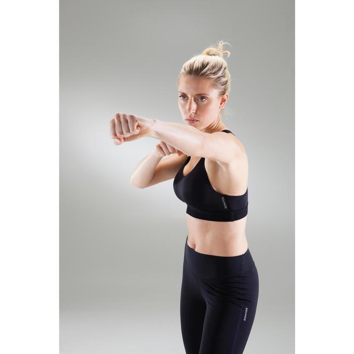Brassière fitness cardio femme imprimés géométriques noirs 500 Domyos - 1489539