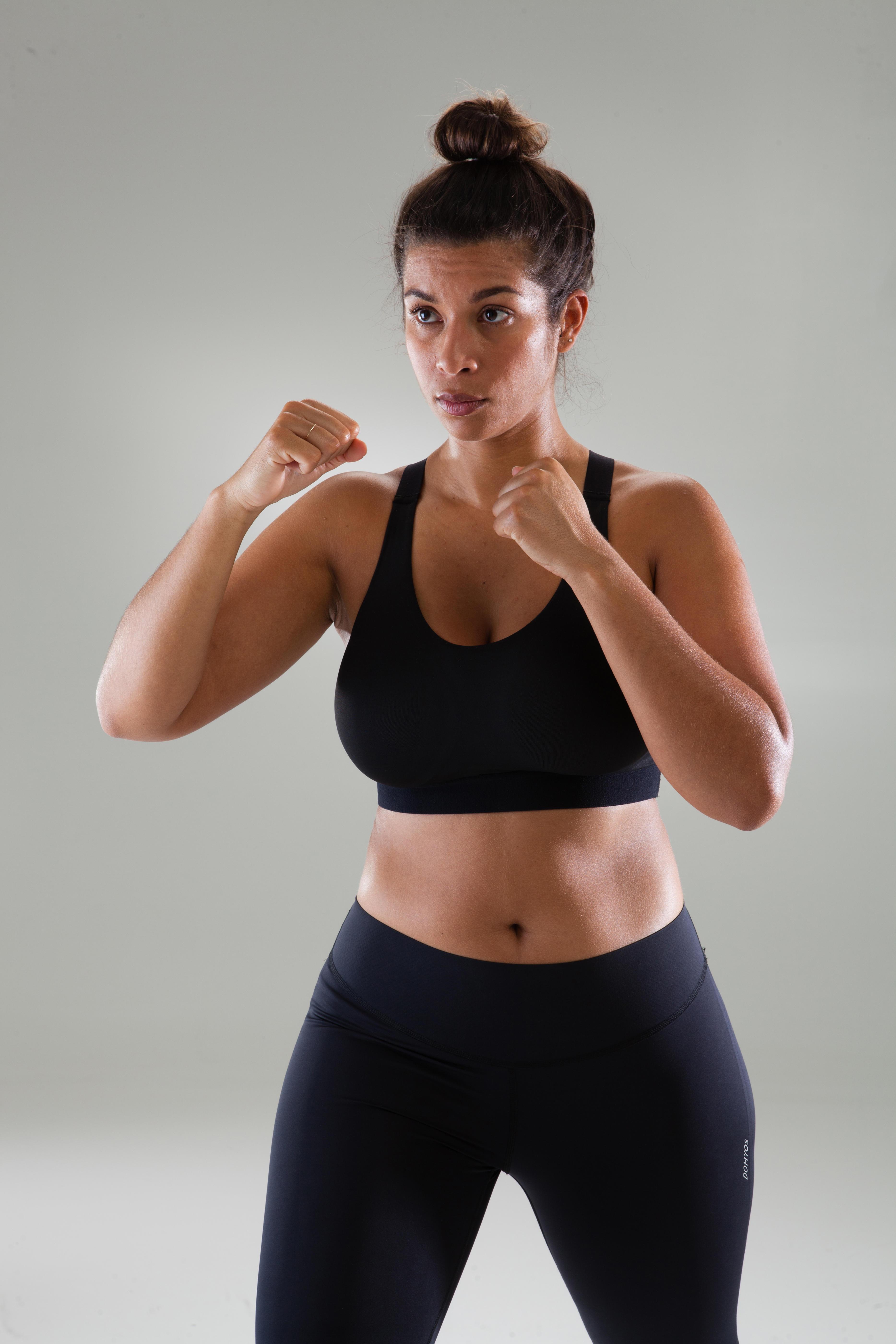 Sujetador-top copas grandes cardio fitness mujer negro 500