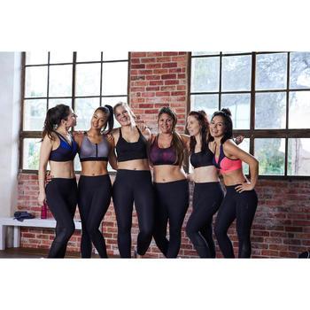 Brassière zip fitness cardio femme imprimés tropicaux roses 900 Domyos - 1489547