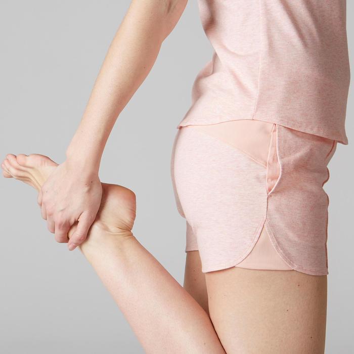 Short 520 Gym Stretching femme rose clair chiné - 1489591