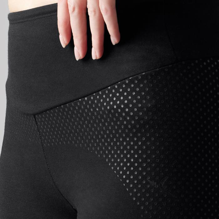 Dameslegging 560 voor pilates/lichte gym slim fit zwart print dots