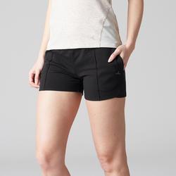 Short voor pilates en lichte gym dames 520 zwart