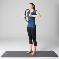 女款修身剪裁溫和健身與皮拉提斯7/8分緊身褲560 - 黑色印花