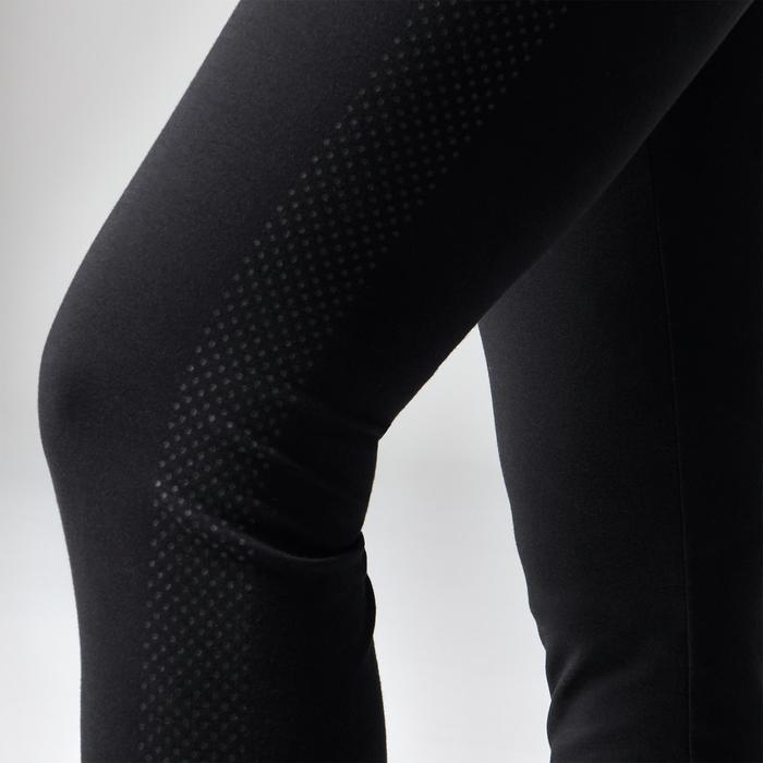 Fitnesslegging dames 560 regular fit platte buik modellerend zwart met stippen