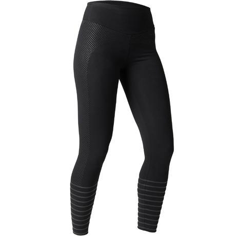 185bce53bdbf7 560 Women's Slim-Fit Pilates & Gentle Gym Leggings - Black Dot Print    Domyos by Decathlon