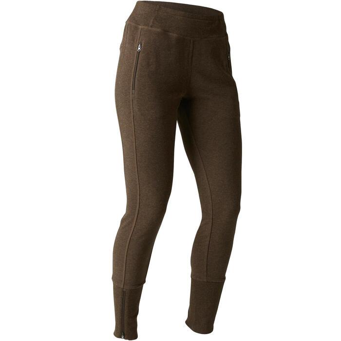 Pantalon 920 Gym & Pilates femme bas zippé gris chiné moyen - 1489661