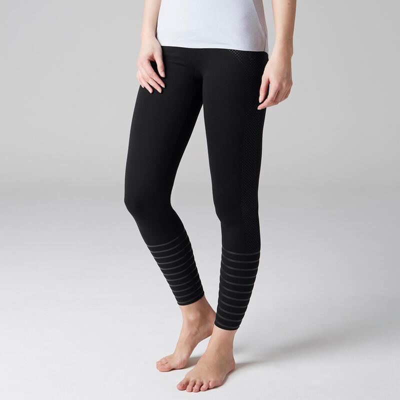 Corrigerende legging voor fitness katoen zwart