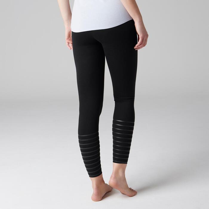 Fitnesslegging dames 560 slim fit platte buik modellerend zwart met stippen